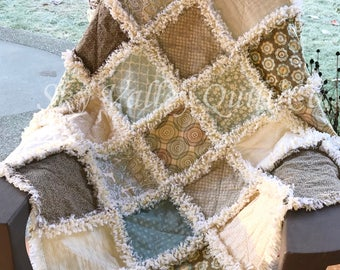 Pre cut  Rag Quilt KIT Misty Blue and brown