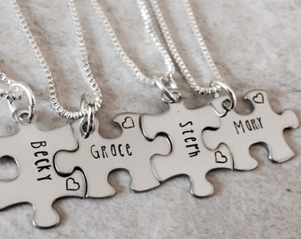 Sale! Personalized bridesmaid gifts puzzle piece necklaces gift set bridal party gifts hand stamped personalized jewelry wedding bride groom