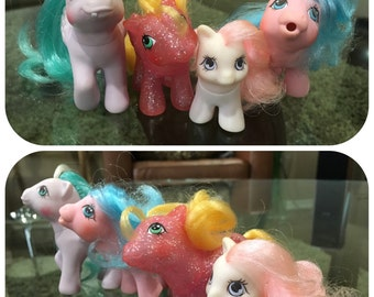 Dots 'n Hearts, Sparkle Firefly, Rainfeather, & Little Whiskers - Baby Girl G1 My Little Pony