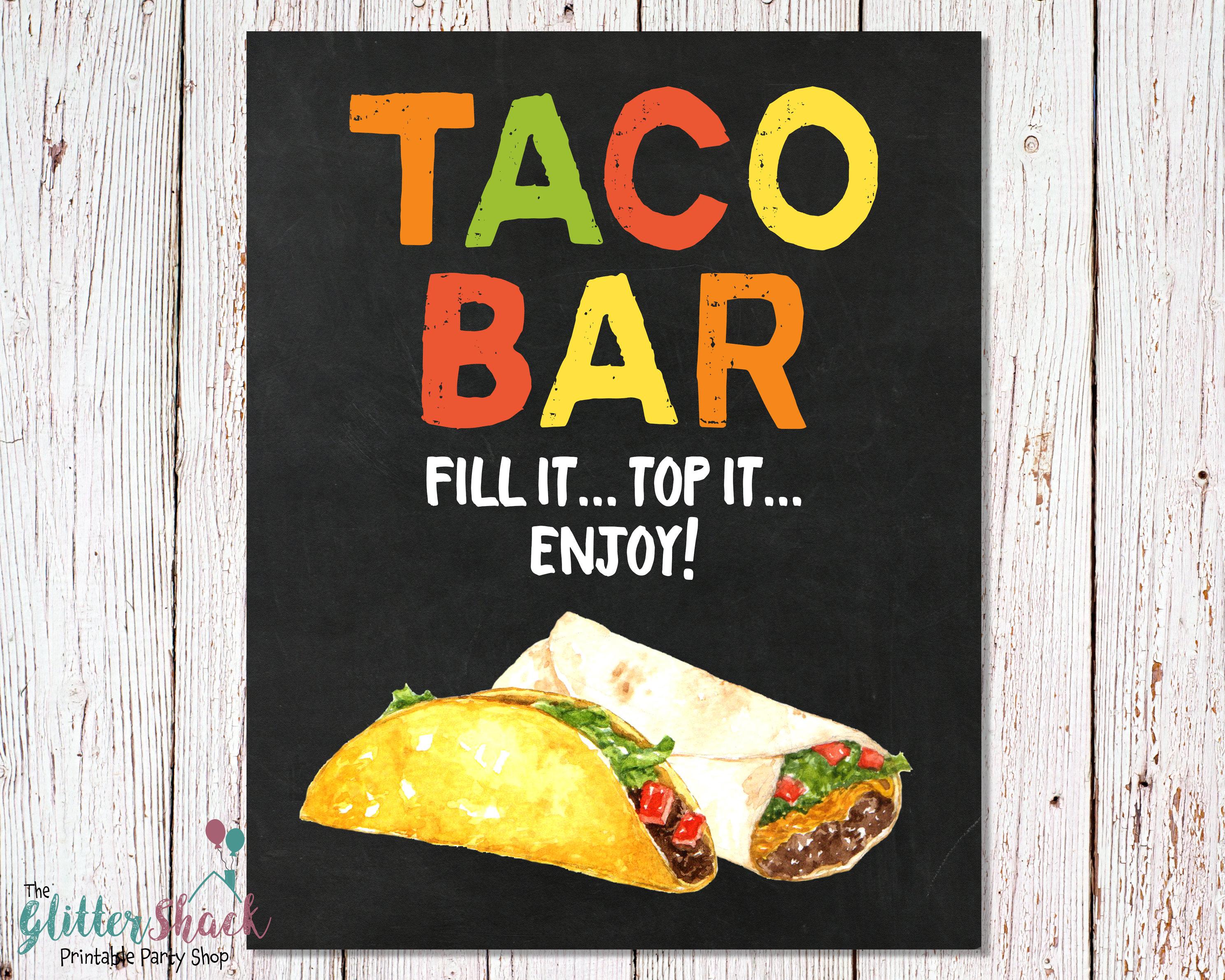 PRINTABLE Taco Bar Sign Fiesta Taco Buffet Sign Fiesta