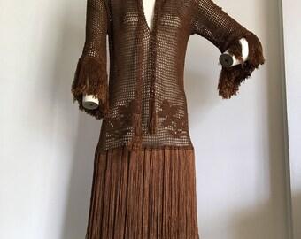 1920's Silk Crochet Flapper Fringe dress with belt- wearable size!