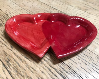 Entwined Hearts Red Bowl