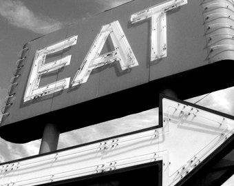 5 x 7 PRINT, vintage style EAT sign photo with 8 x 10 mat, kitchen, deco