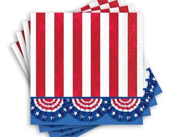 20 Ct Strong 5 Inch Patriotic Dessert Size Napkins - American Pride Bunting Theme Paper Plates - July 4th Party Napkins - Red, White & Blue
