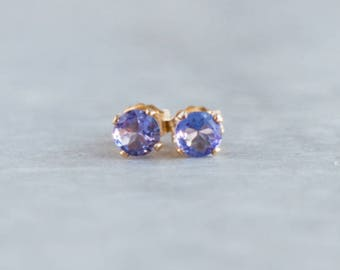 Tanzanite Stud Earrings, Gift for Her, Gift for Mum, Gemstone Earrings Studs, Tanzanite Ear Studs, December Birthstone, Small Ear Studs