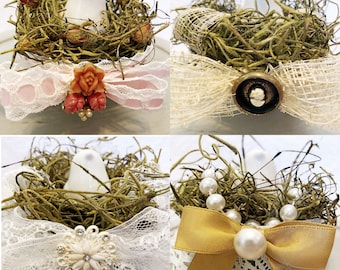 Spring decor birds nests, shabby chic, handmade nests in porcelain bowls, vintage jewelry details, bird salt & pepper shakers, upcycled
