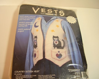 Vest  Pattern And Kit - Appliqued Country Kitten