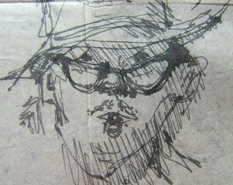 NAPKIN MAN - Napkin Glasses Man, copy of sketch which was done on a napkin.  On  8.5 x 11 acid free paper   Copy.