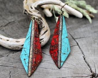 Turquoise Red Dangle Earrings Tribal Long Earrings Unique Boho Jewelry boho Fashion earrings Textured Artisan Earrings Statement Earrings