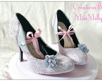 Lace Shoes/ Handmade Shoes/ Bridal Shoes/ Lace Bridal Shoes/ Bridesmaid Shoes/ Pink Shoes/ Grey Shoes/ Lace Prom Shoes