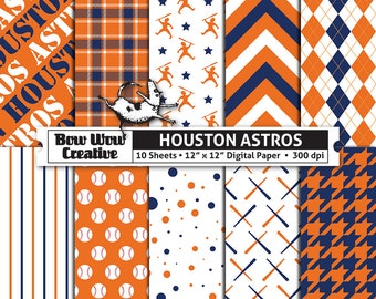 10 Houston Astros Digital Papers for Scrapbooking, Digital Paper, Digital Scrapbook Paper, Printable Sheets, Baseball, Patterns
