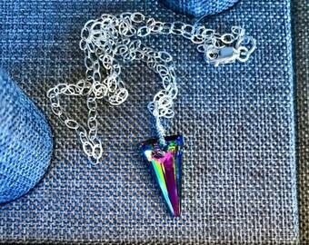Rainbow Swarovski Spike Crystal necklace