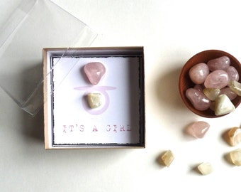 IT'S A GIRL FAVOR -- baby shower Favor -- rose quartz and moonstone