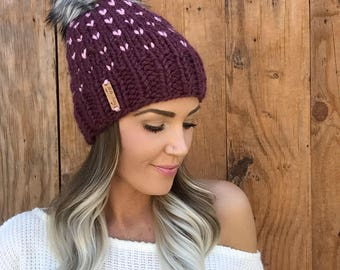 Fair Isle Wool Blend Knit Hat || Fig Purple Blossom Baby Pink Faux Fur Pom Pom Hair Heart Cap Earwarmer Fashion Girl Chunky Fall Winter