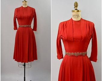 SPRING SALE 1940's red rayon Carlye dress with belt • small