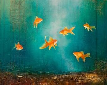 Gold Fish Forest - original, unframed