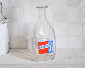 "Vintage French famous ""Pastis 51"" and ""Pernod 45"" glass bottle - Antique french water pitcher for aperitif"