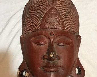 Carved Wooden Buddha Head Wall Decor