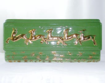 Reindeer 40s Christmas Ceramic Planter Green with Gold Flying Reindeer