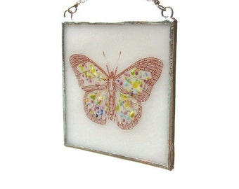 Butterfly Suncatcher Fused Glass Light Catcher White Spring