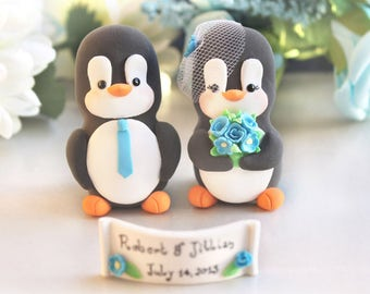 Penguin wedding cake toppers - cute unique elegant bride groom figurines turquoise blue wedding decor names custom cake toppers personalized