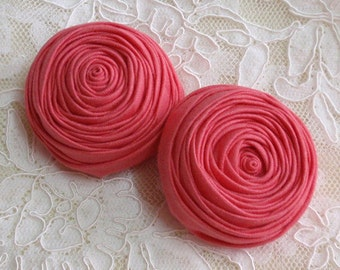 2 Handmade Fabric Rolled Roses (2-1/4 inches) In Coral rose MY- 150- 01  Ready To Ship