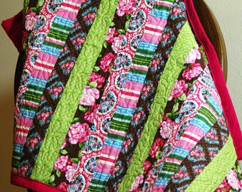 Bright Pink and Green Quilt
