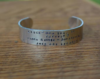 Alice in Wonderland - How Long Is Forever? Metal Stamped Cuff Literary Quote Bracelet - Lewis Carroll