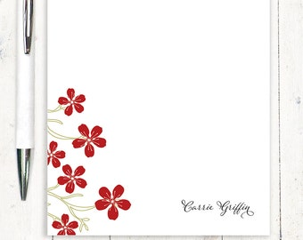 personalized notePAD - CHEERY CHERRY BLOSSOMS - stationery - stationary - floral - flower - botanical