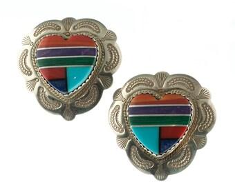 Sterling Inlaid Heart Earrings