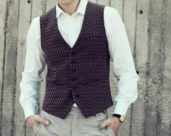 Men's slim vest waistcoat in brown wool blend