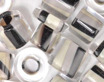 Newsprint Twist David Christensen Furnace Glass Beads (82)