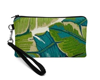 Smartphone Wristlet, Galaxy S7 Edge Purse, Cell Phone Wristlet, iPhone 7 Plus Case, Coupon Wallet with Wrist Strap - teal palm tree leaves
