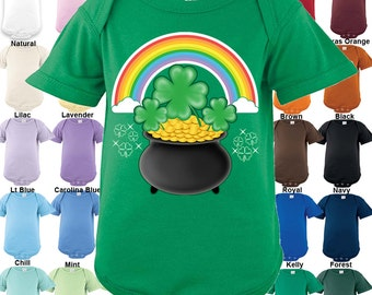 St. Patrick's Day - Pot of Gold rainbow shamrock Bodysuit - Boys / Girls / Irish / St. Patrick's day