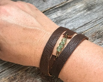 Repurposed Leather Necklace or Wrap Bracelet with Green Beads