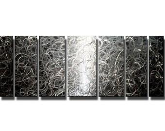 Huge Sale! Large Multi Panel Metal Wall Sculpture, Silver Modern Metal Wall Art, Decorative Metal Wall Art - Controlled Chaos by Jon Allen