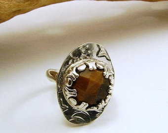 Sterling Silver and Tiger Eye Ring - Size 4, but RESIZABLE