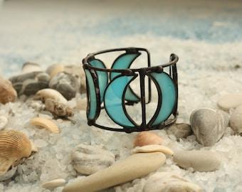 Blue bracelet cuff, boho bracelet, hippie bracelet, bohemian bracelet, gypsy bracelet cuff, moon jewelry, boho chic bracelet, boho jewelry