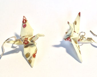 Origami Crane Earrings Cream with pink and  coral Flowers 1.25""