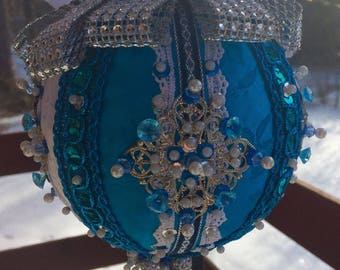 Ornate and Embellished Victorian Style Ornament Turquoise and White