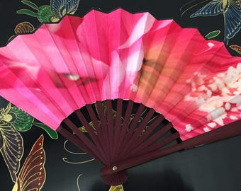 Beautiful Pink Cactus Flower- Hand Folding Fan