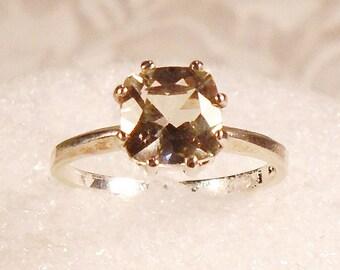Champagne Solitaire Ring, Lemon Quartz, Cushion Cut, Sterling Silver, Unique 8 Prong Setting, Vintage Engagement Ring, Christmas Gift.