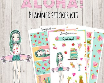 Aloha planner stickers, july/hawaii/summer/ planner sticker kit, happy planner stickers, stickers for use with Erin condren planner, SK021
