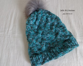 Blue turquoise/grey wool hand knitted wool hat for women and teens -