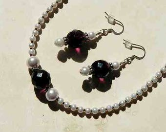 Light Pink Glass Pearl Necklace With Deep Purple Glass Faceted Beads and Silver Accents