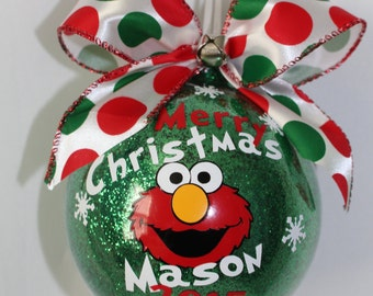 """Elmo Ornament Sesame Street Ornament, Personalized with year and name. 4"""" Acrylic (hard plastic) or Glass Ornament made with Vinyl decals"""