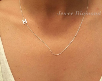 Gold sideways initial, Sterling silver, Personalize bridesmaid gift, personalize necklace, letter a,b,c...