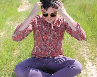STRAWBERRY FIELDS  Vintage 1970's Ascot Blouse Paisley Print  Button Down Shirt