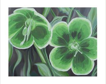 Green Flower Canvas Painting, Green Flowers Painting, Botanic Painting, Green Helleborus Flowers, Flower Canvas, Green Home Decor Wall Art