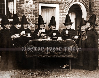 Tea party - Welsh Witches fine art giclee reproduction